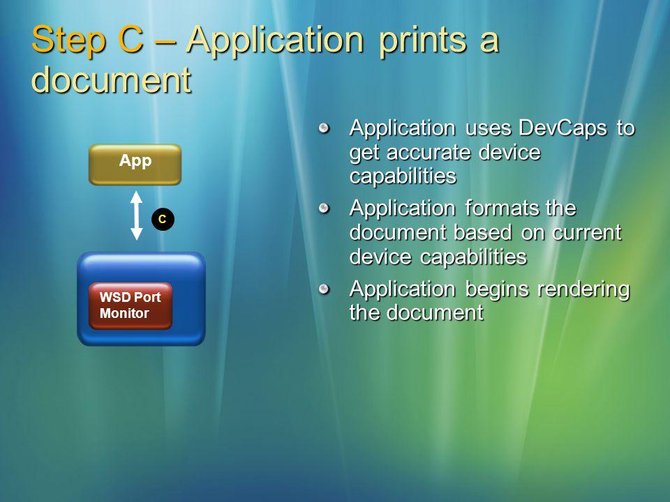 Step C – Application prints a document