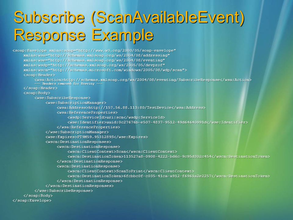 Subscribe (ScanAvailableEvent) Response Example