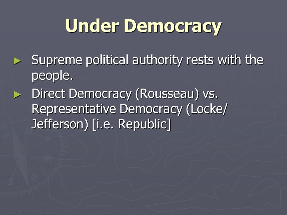 Under Democracy Supreme political authority rests with the people.