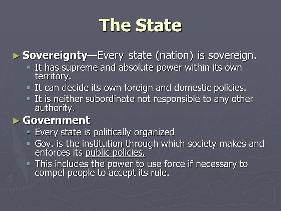 The State Sovereignty—Every state (nation) is sovereign. Government