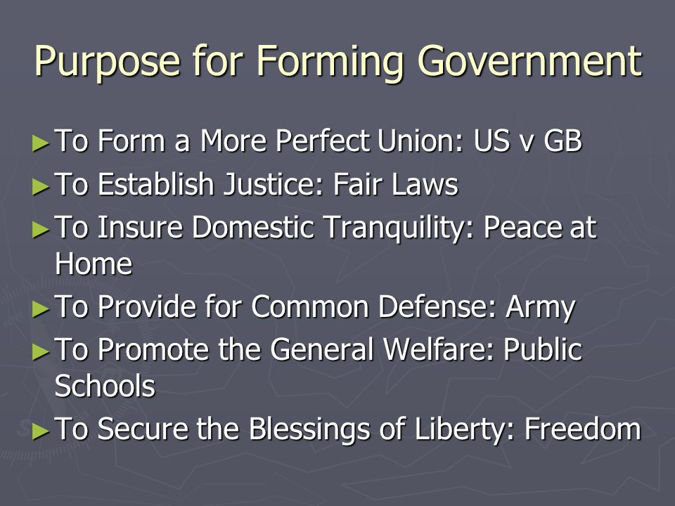 Purpose for Forming Government