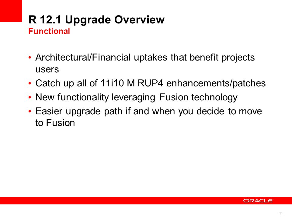 R 12.1 Upgrade Overview Functional