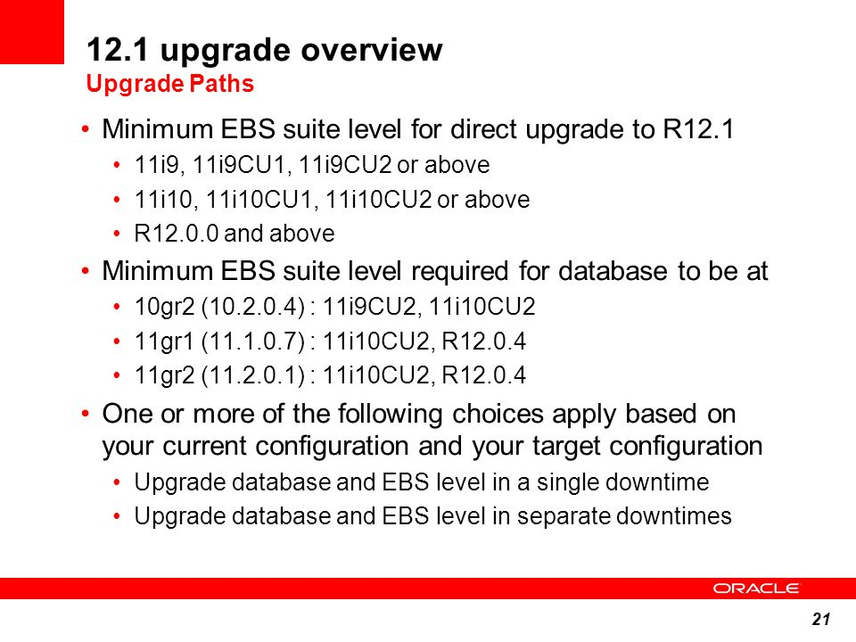12.1 upgrade overview Upgrade Paths