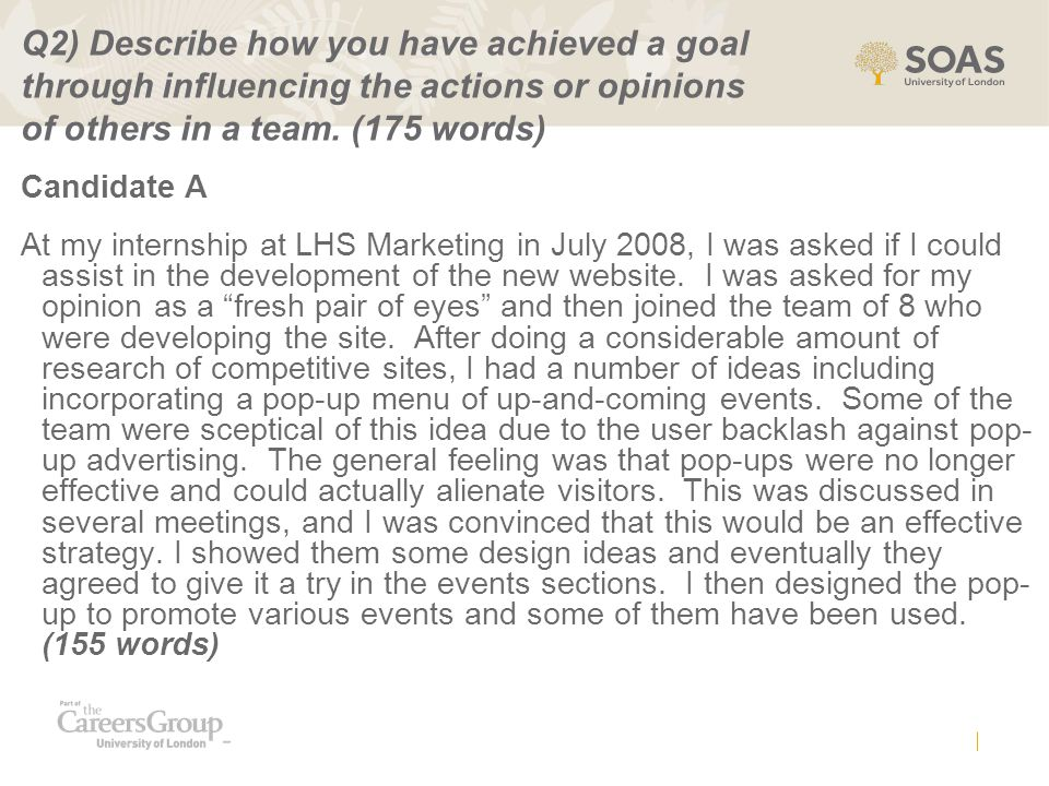Q2) Describe how you have achieved a goal