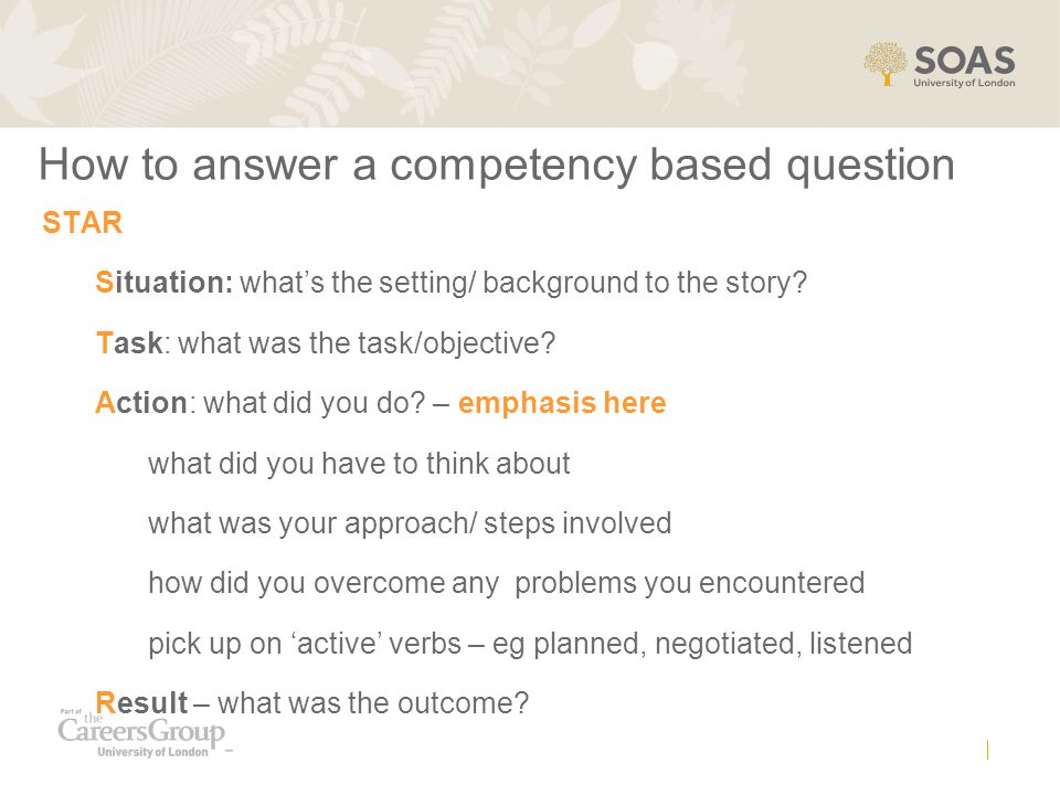 How to answer a competency based question