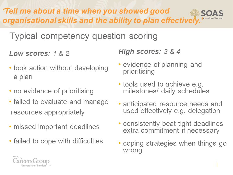 Typical competency question scoring
