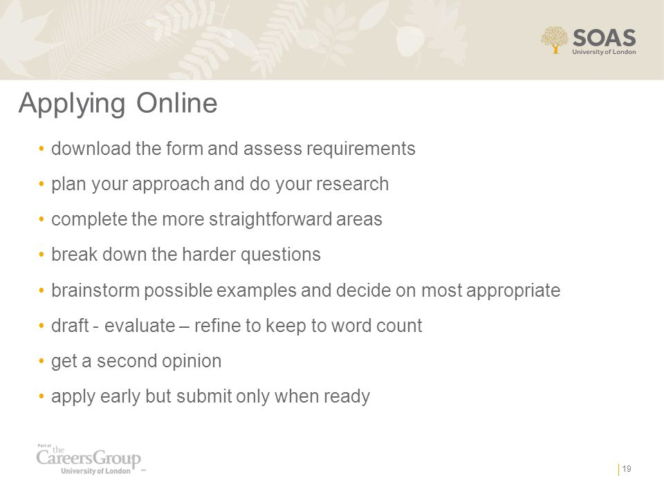 Applying Online download the form and assess requirements