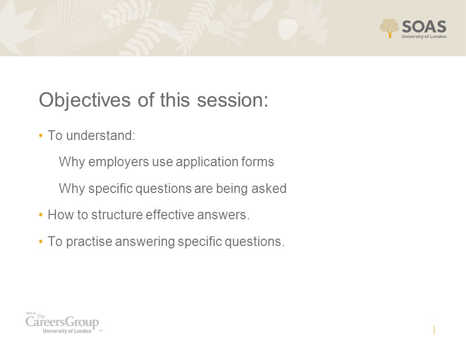 Objectives of this session: