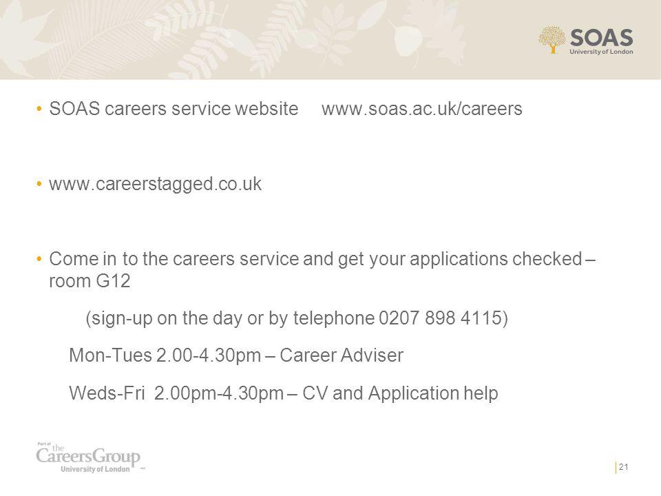 SOAS careers service website www.soas.ac.uk/careers