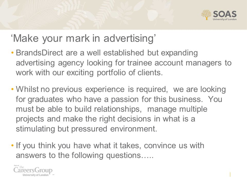 'Make your mark in advertising'
