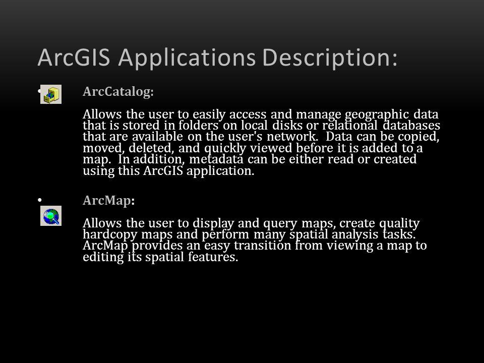 ArcGIS Applications Description: