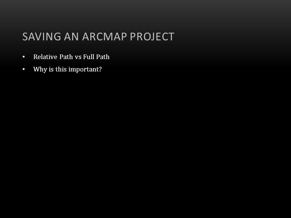 Saving an ArcMap Project