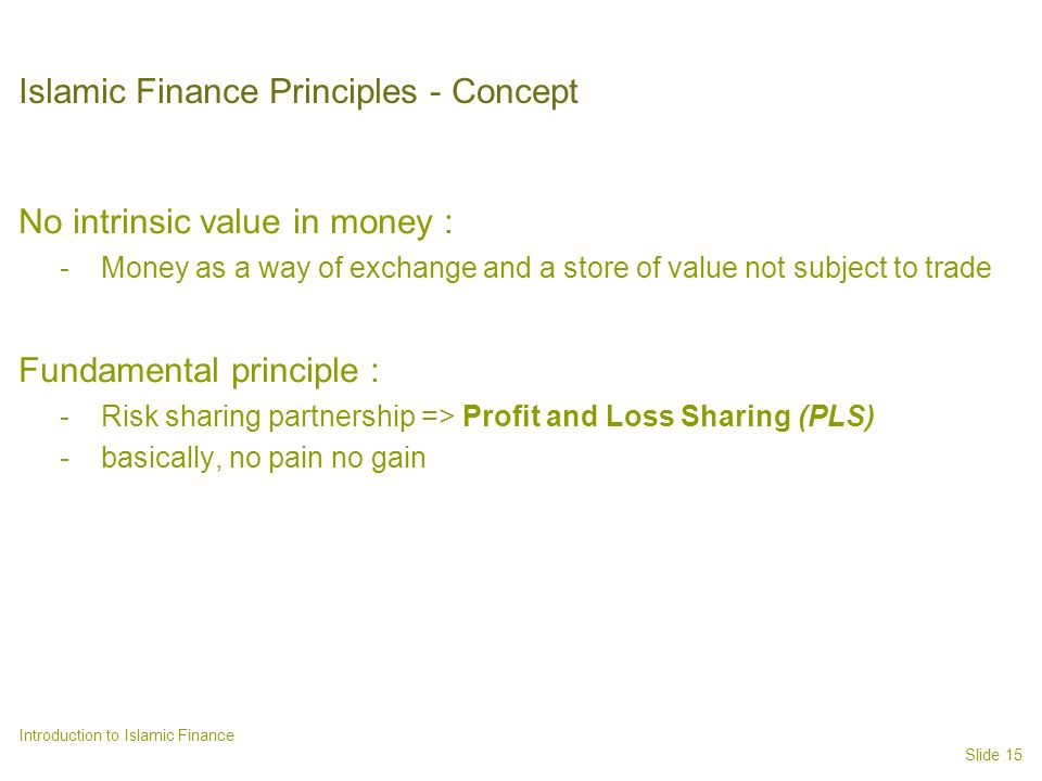 Islamic Finance Principles - Concept