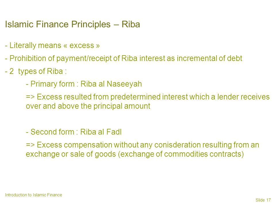Islamic Finance Principles – Riba