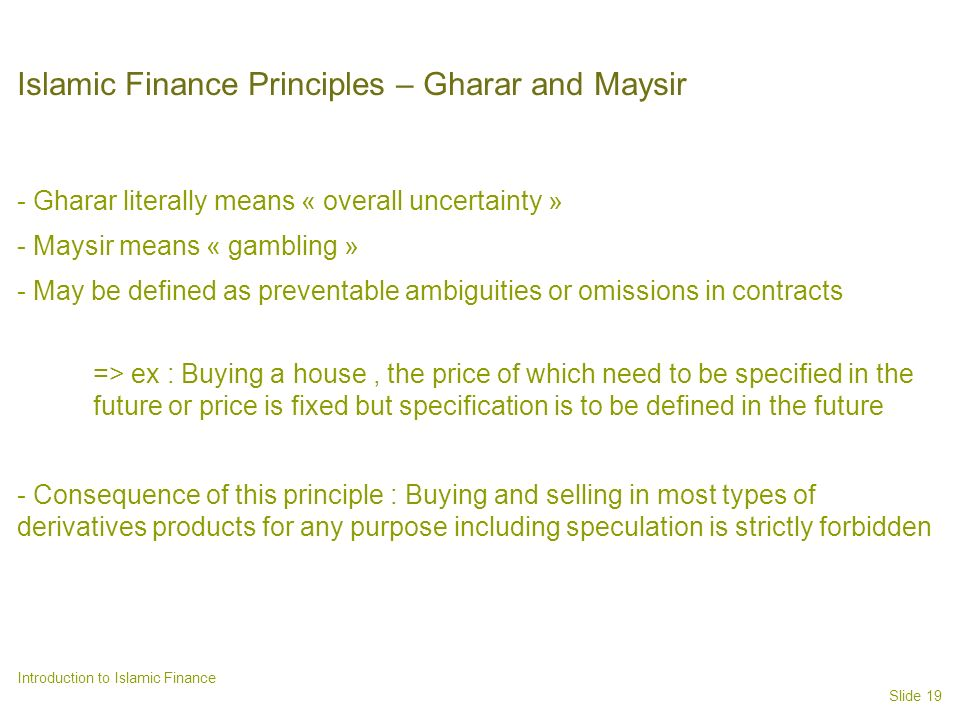 Islamic Finance Principles – Gharar and Maysir