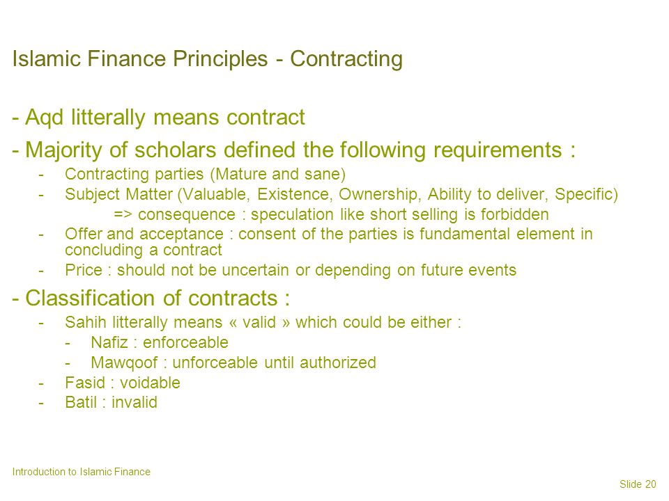 Islamic Finance Principles - Contracting