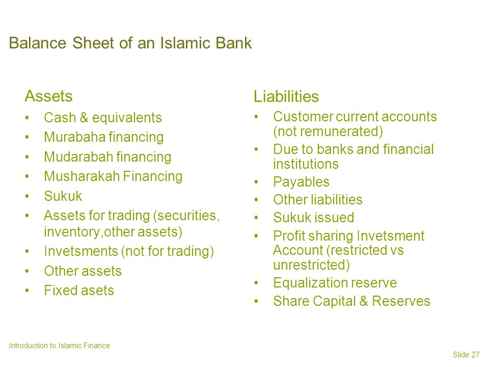 Balance Sheet of an Islamic Bank