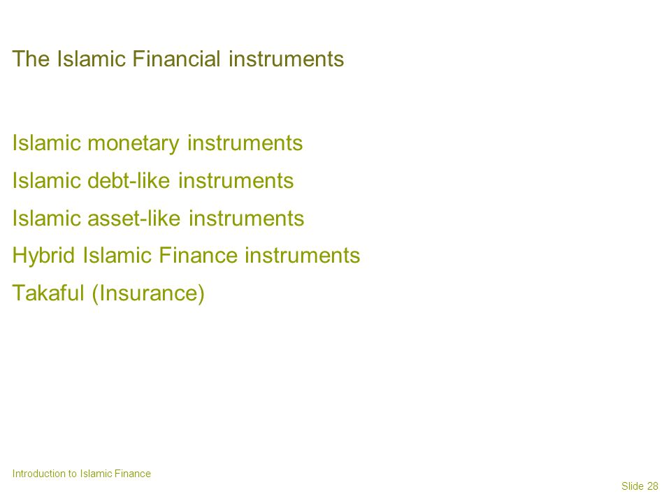 The Islamic Financial instruments