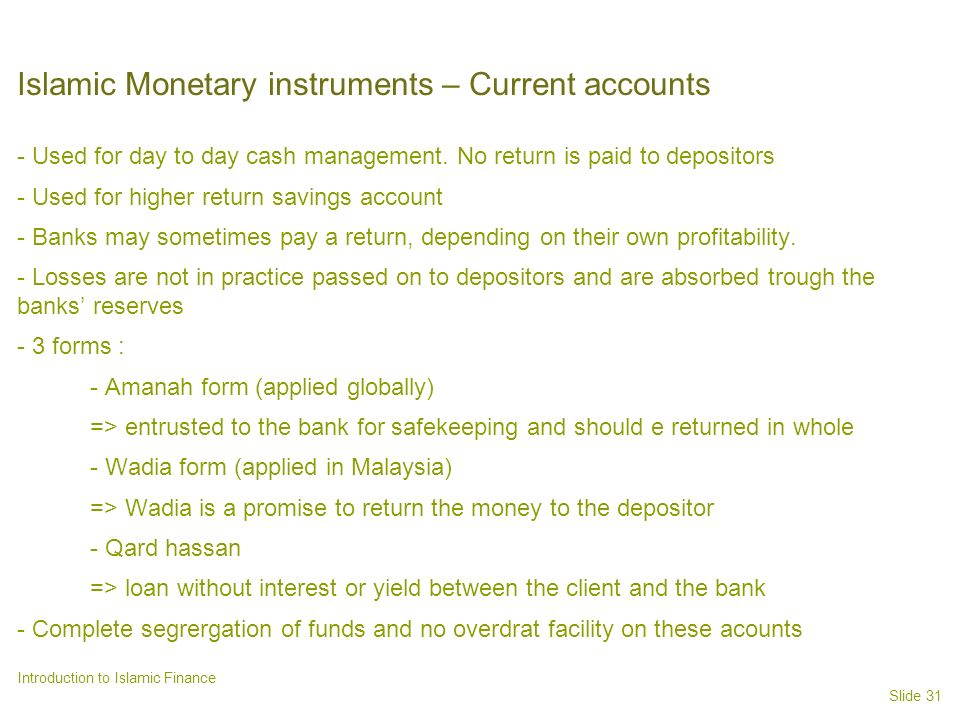 Islamic Monetary instruments – Current accounts