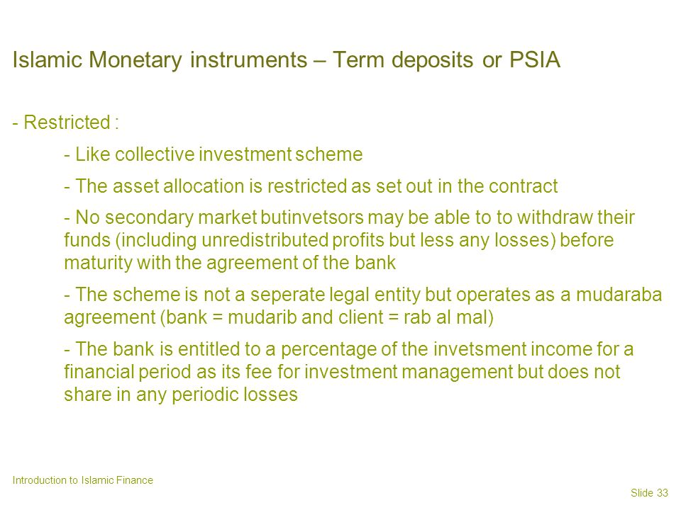 Islamic Monetary instruments – Term deposits or PSIA