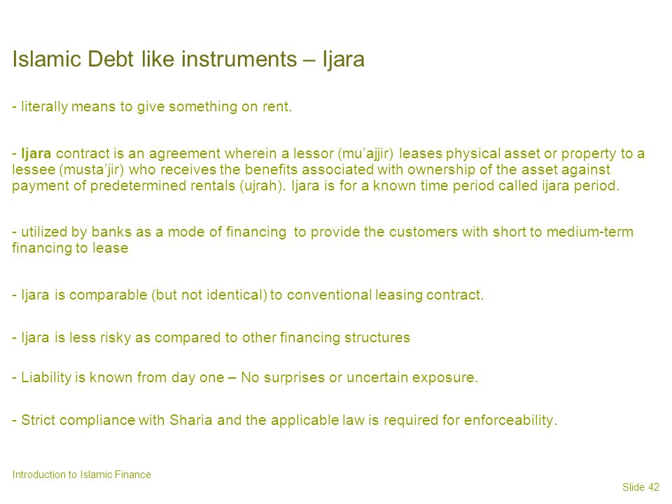 Islamic Debt like instruments – Ijara