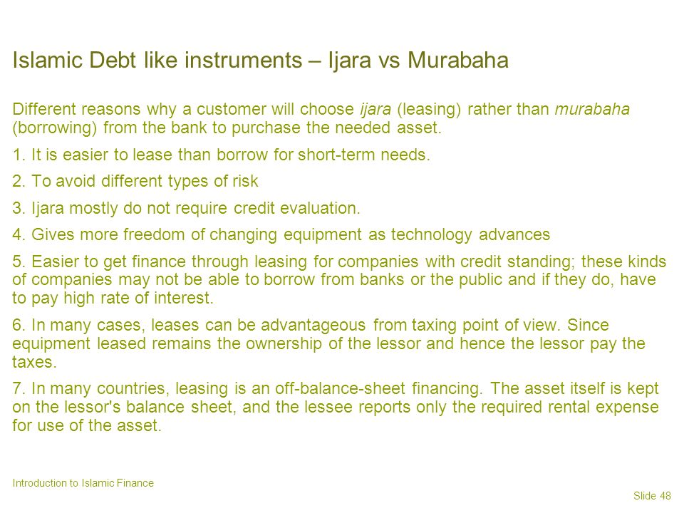 Islamic Debt like instruments – Ijara vs Murabaha