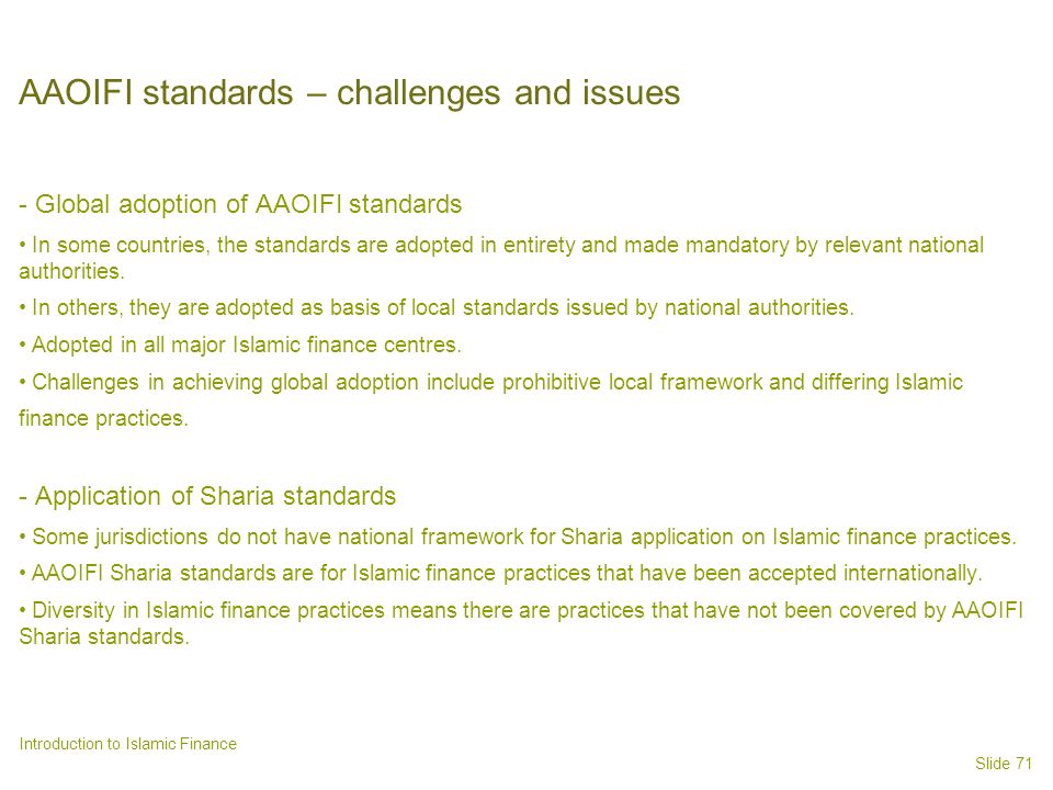 AAOIFI standards – challenges and issues