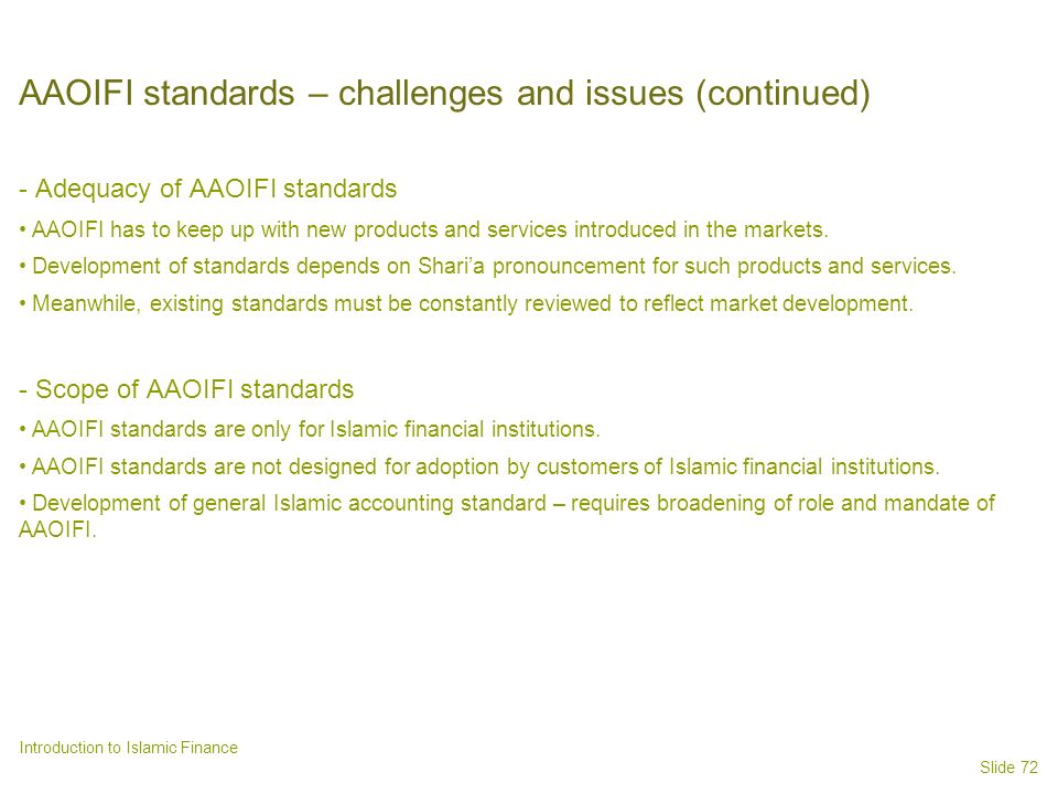 AAOIFI standards – challenges and issues (continued)