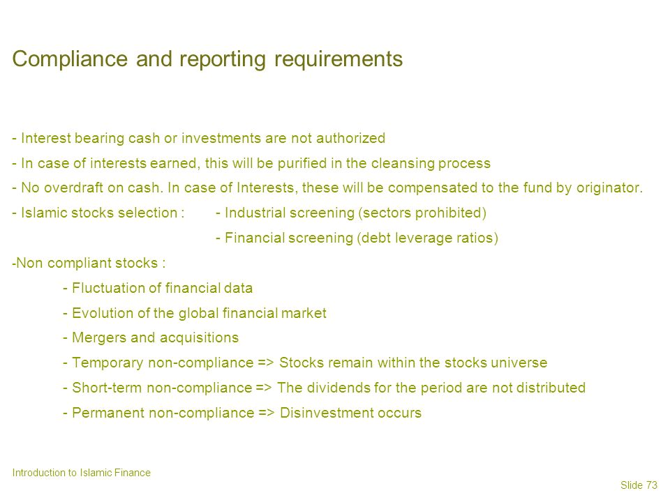 Compliance and reporting requirements