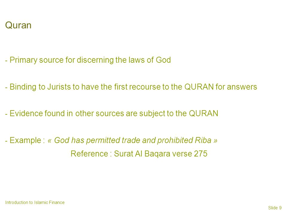 Quran Primary source for discerning the laws of God