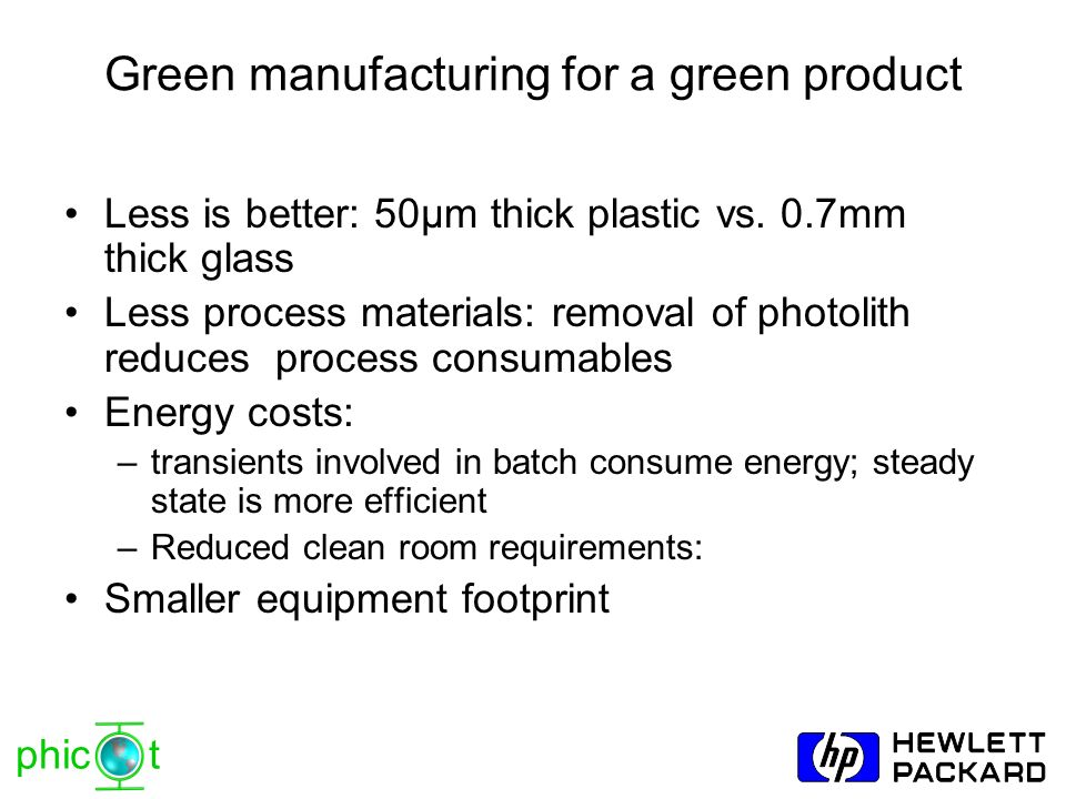 Green manufacturing for a green product