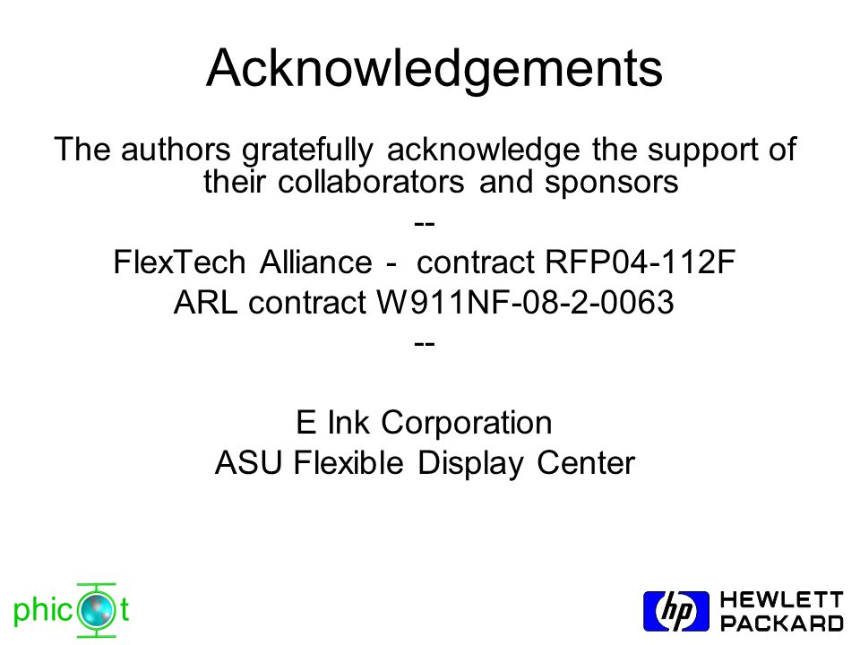 Acknowledgements The authors gratefully acknowledge the support of their collaborators and sponsors.