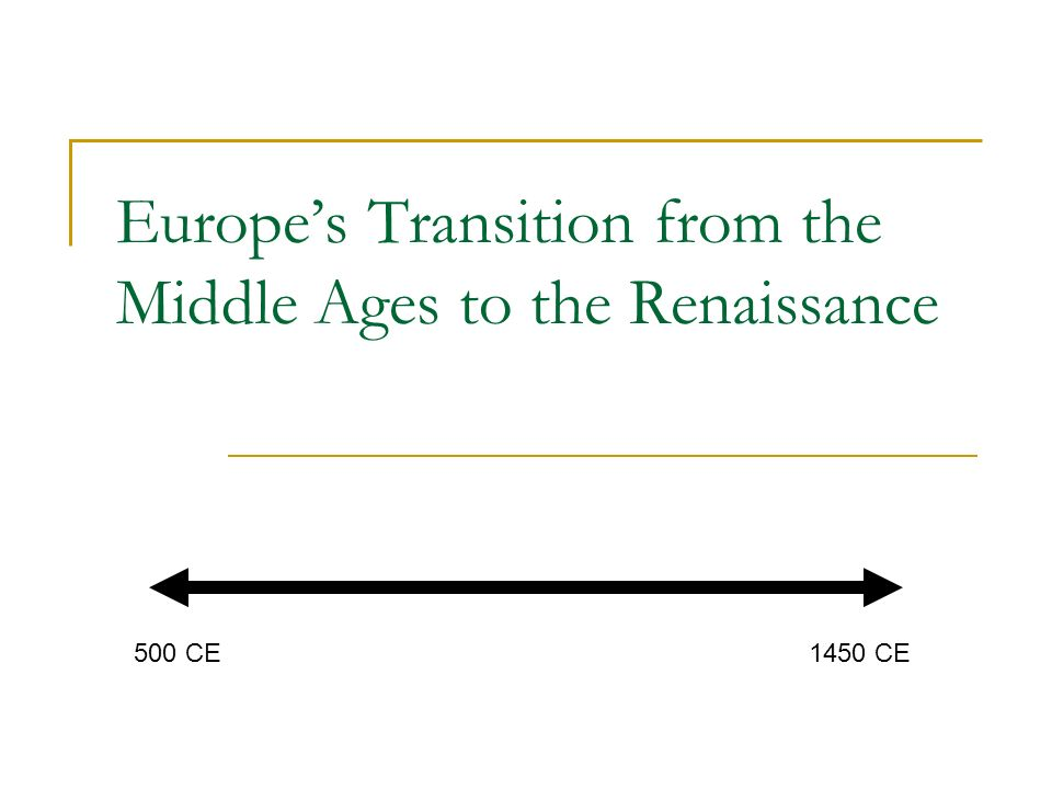 Europe's Transition from the Middle Ages to the Renaissance