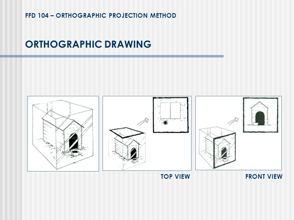 ORTHOGRAPHIC DRAWING TOP VIEW FRONT VIEW