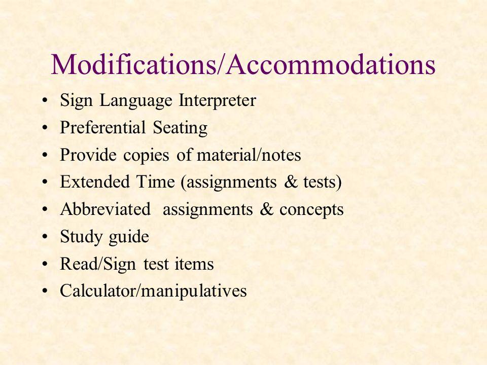 Modifications/Accommodations