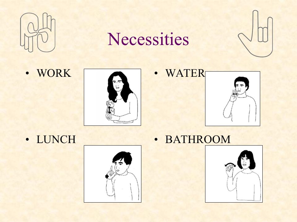 Necessities WORK LUNCH WATER BATHROOM