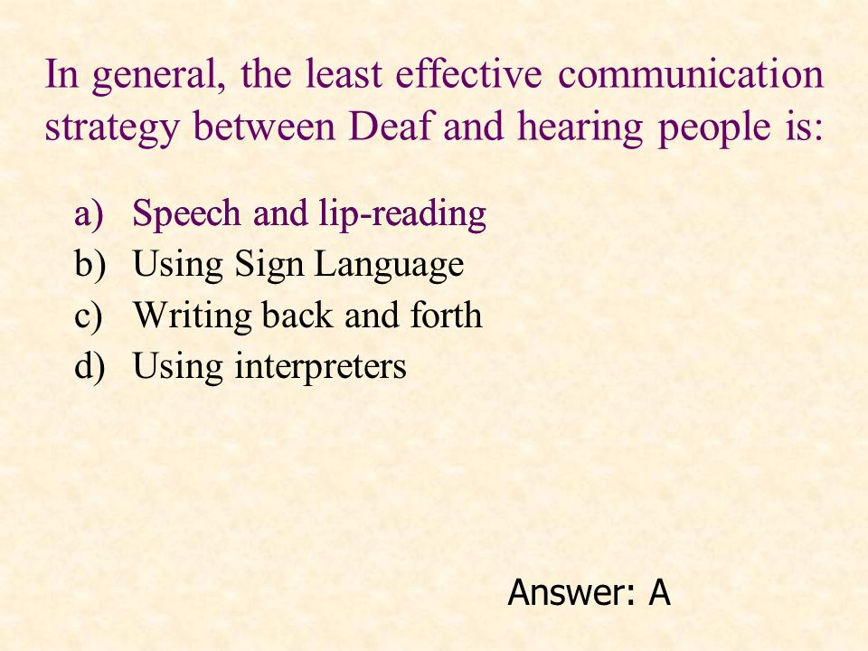 In general, the least effective communication strategy between Deaf and hearing people is: