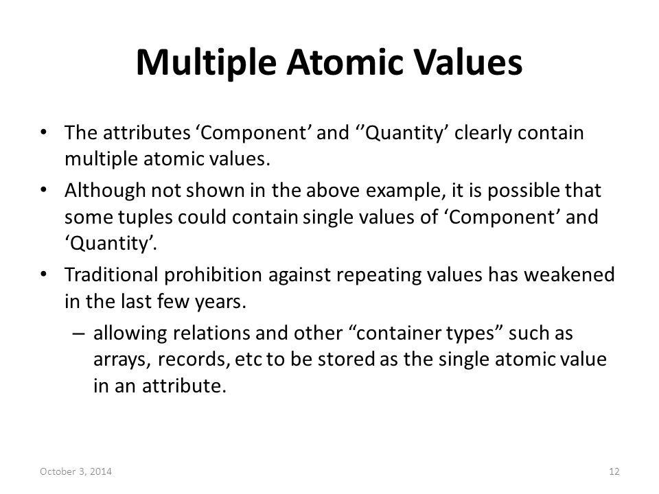 Multiple Atomic Values