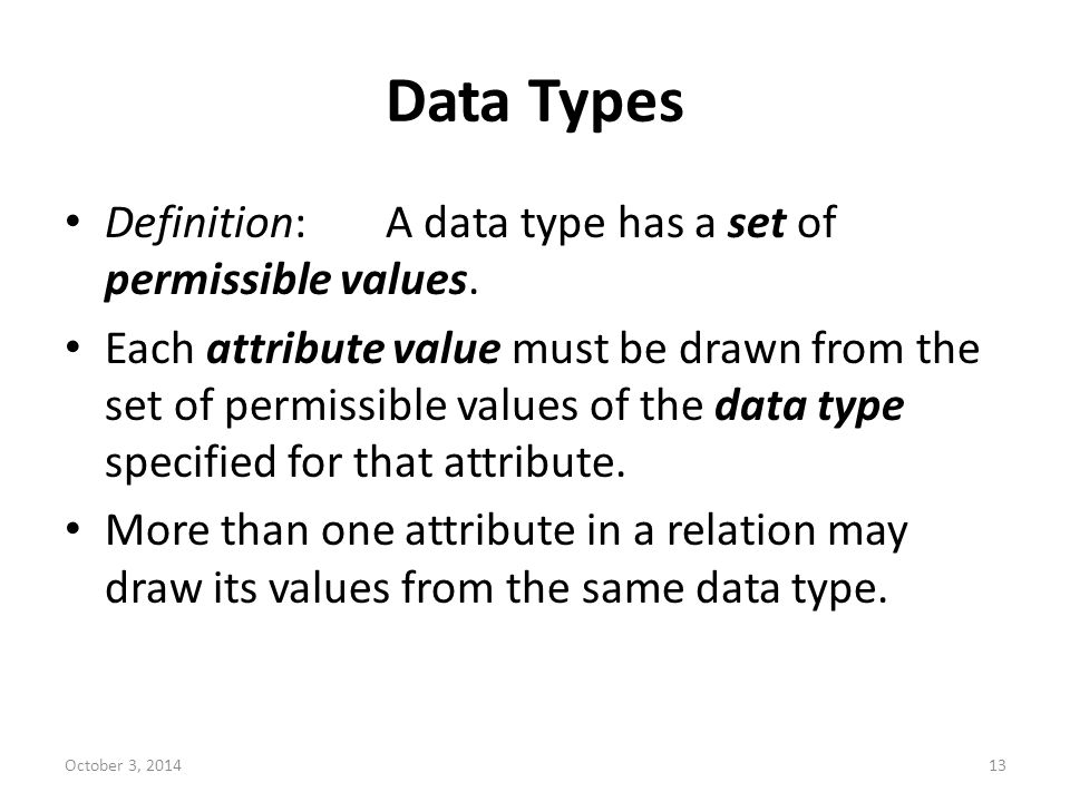 Data Types Definition: A data type has a set of permissible values.