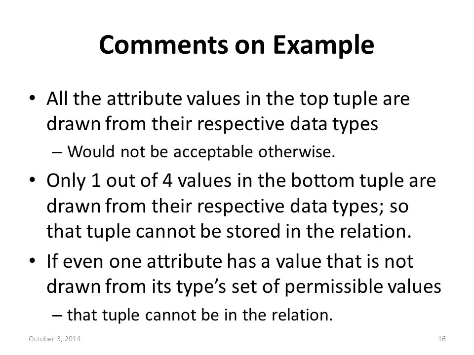 Comments on Example All the attribute values in the top tuple are drawn from their respective data types.