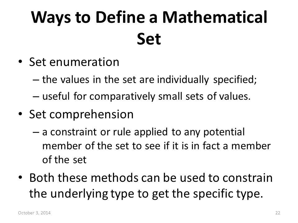 Ways to Define a Mathematical Set