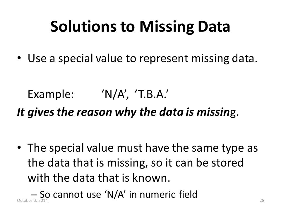 Solutions to Missing Data