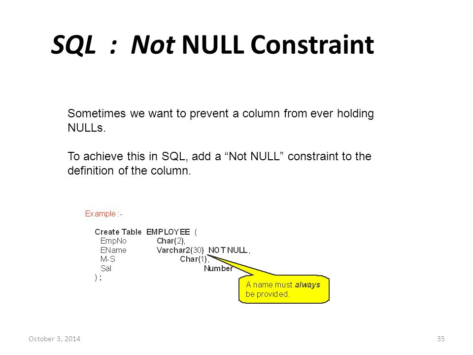 SQL : Not NULL Constraint