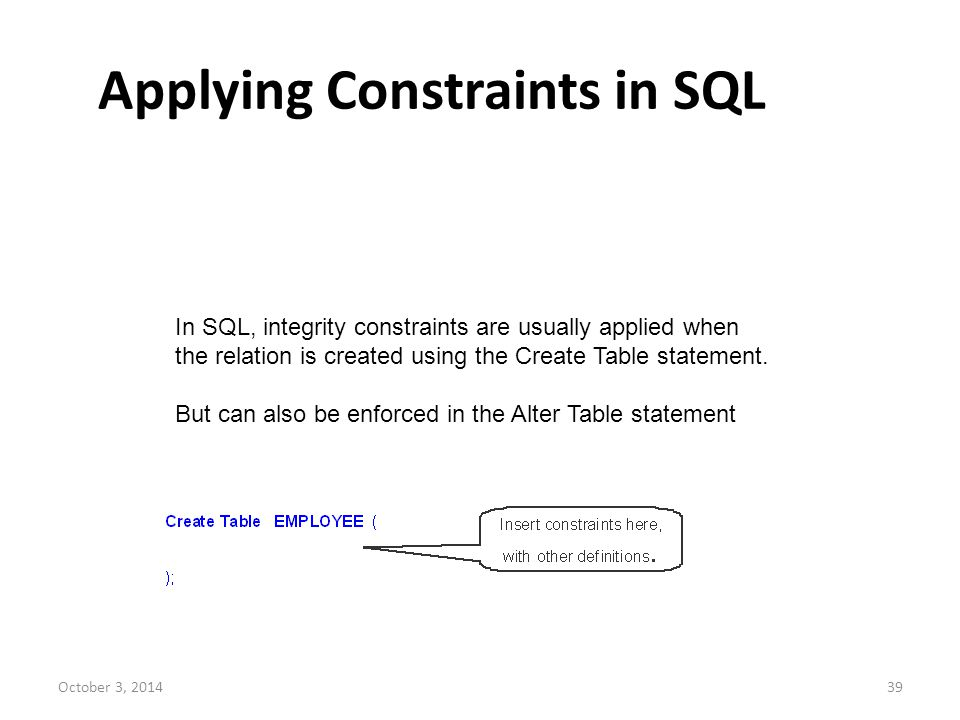 Applying Constraints in SQL