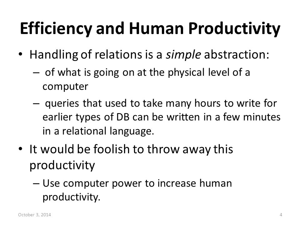 Efficiency and Human Productivity