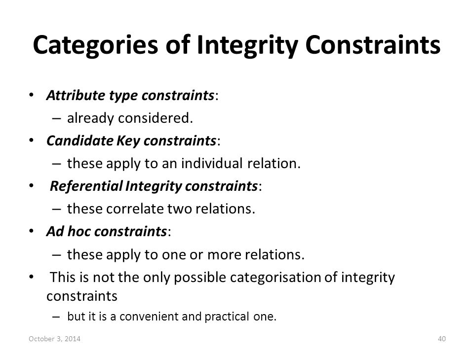 Categories of Integrity Constraints