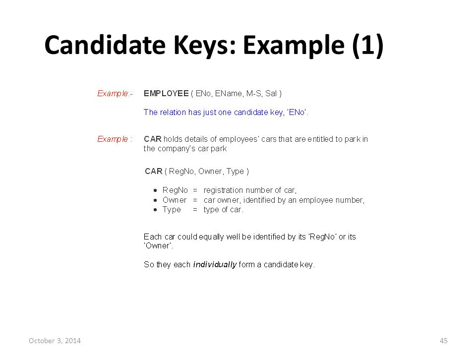 Candidate Keys: Example (1)