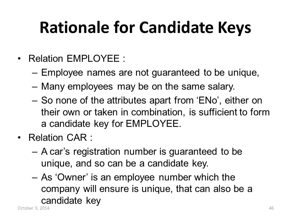 Rationale for Candidate Keys
