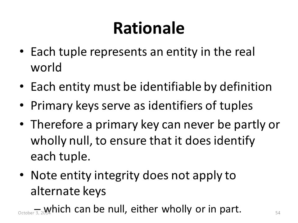 Rationale Each tuple represents an entity in the real world