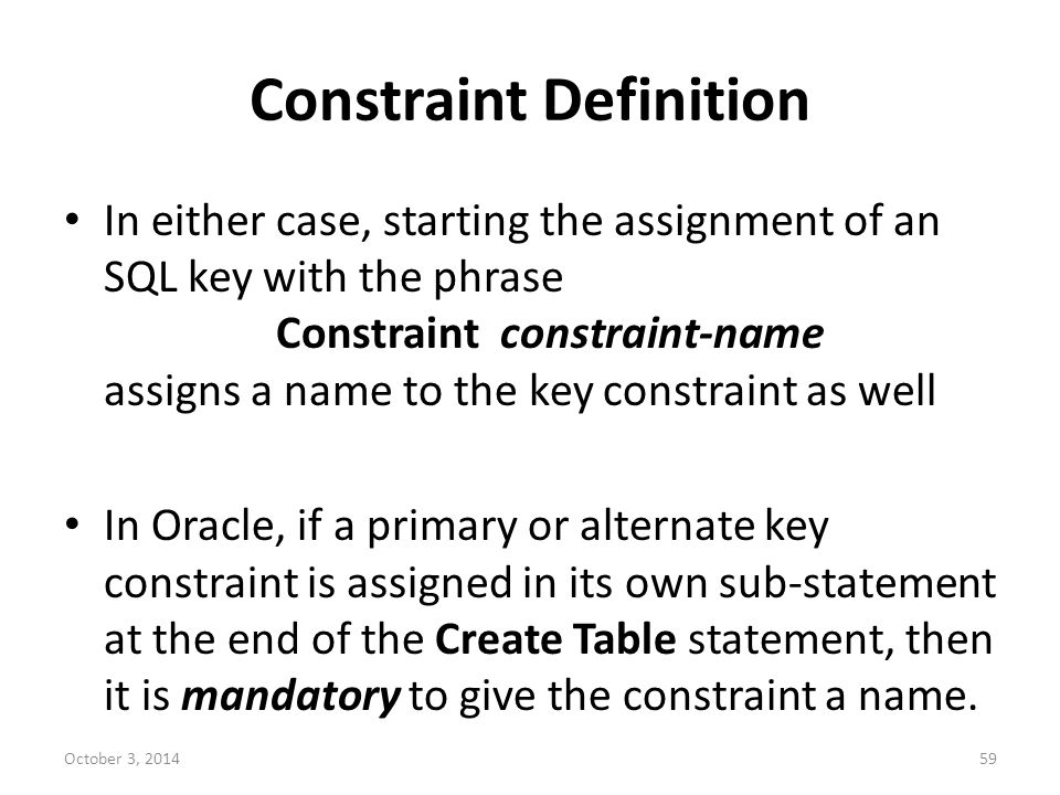 Constraint Definition